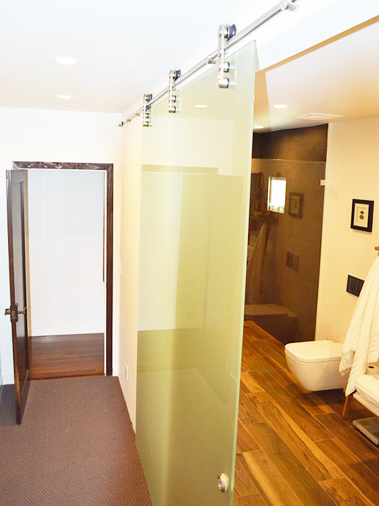 glass barn door, walk in shower, clean lines, contemporary bathroom, master suite remodel